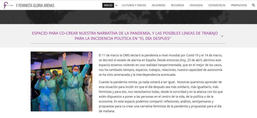 """Sitio de Federación Feminista Gloria Arenas para la co-creación de la narrativa de la pandemia y las líneas de trabajo para la incidencia política """"El Día Después"""""""